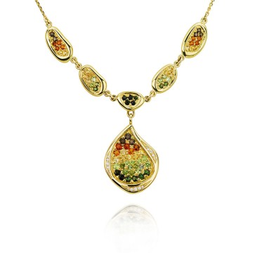 Yellow Gold Autumnal Teardrop Necklace