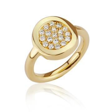 18ct Yellow Gold Heavy Dazzle Diamonds Ring