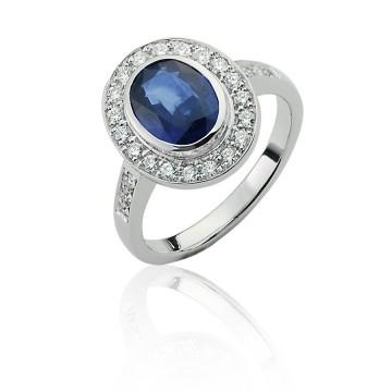 18ct White Gold Diamond & Sapphire Halo Ring
