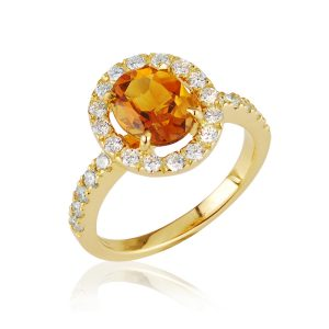 Halo 18ct yellow gold citrine ring