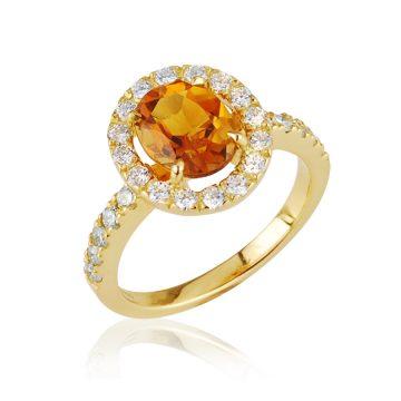 Halo 18ct yellow gold citrine ring