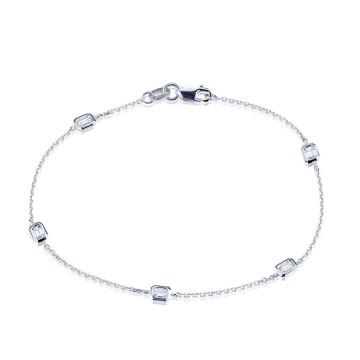 18ct White gold Emerald cut Diamond bracelet