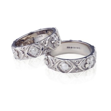 Gothic Tamboli Diamond Wedding Bands