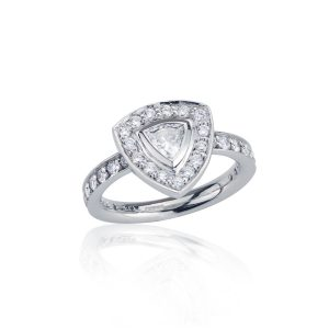 Trillion Cut Diamond Halo Ring