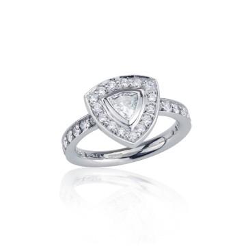 Trillion Cut Diamond Halo Ring
