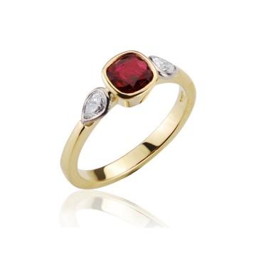Cushion Ruby & Pear Shape Diamond Ring
