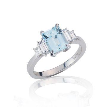 Art Deco Inspired Aquamarine & Diamond Ring