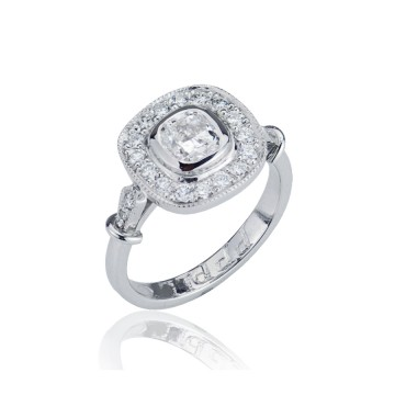 Vintage Cushion Cut Diamond Halo Ring