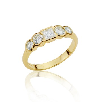 Multi Shaped Diamond Half Eternity Ring