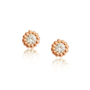 Rose 18ct Red Gold Diamond Earrings