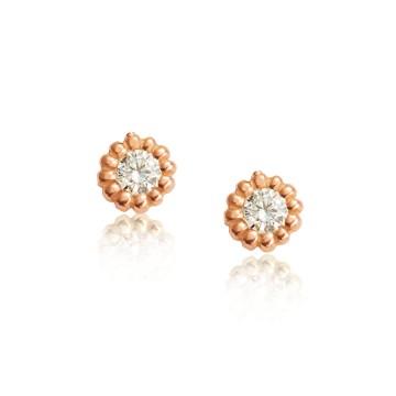 Rose 18ct Red Gold Diamond Earrings