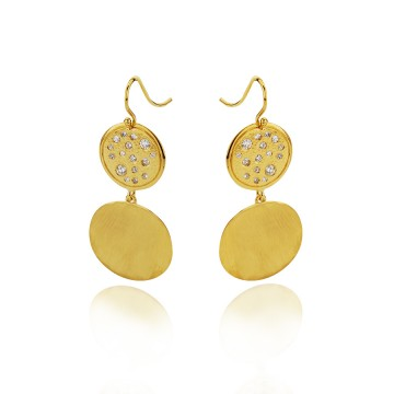 18ct Yellow Gold Hammered Disc Drop Earrings
