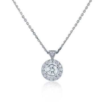18ct White Gold 0.91ct Centered Diamond Halo Pendant