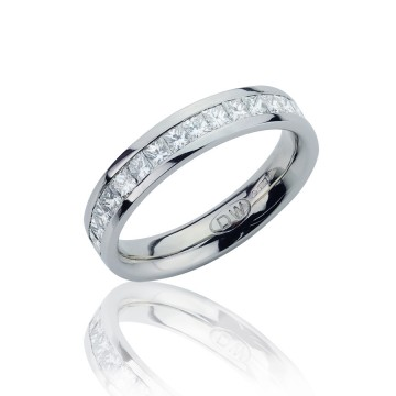 Channel Set Princess Cut Diamond Half Eternity Ring