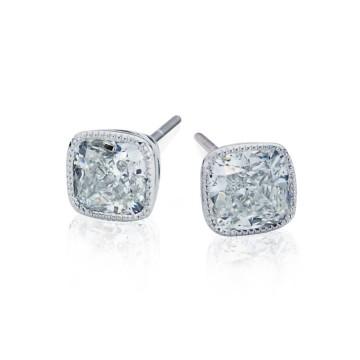 Cushion Cut diamond Vintage style Earrings