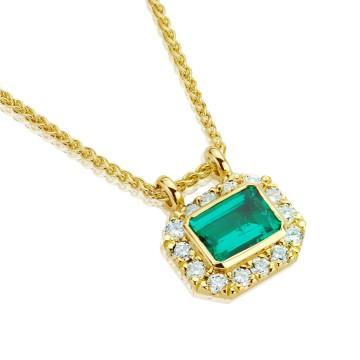 18CT Yellow Gold Emerald Halo Pendant