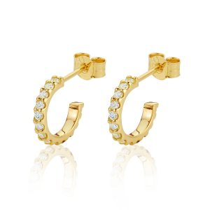 18CT Yellow Gold Diamond Small Hoop Earrings