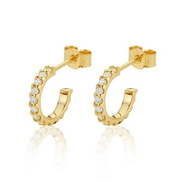 18CT Yellow Gold Diamond Small Hoop Earrings