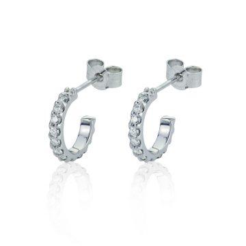 small 18ct white gold diamond hoop earrings