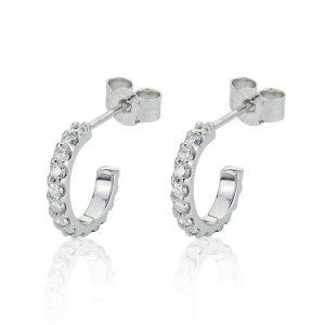 18CT White Gold Diamond Small Hoop Earrings