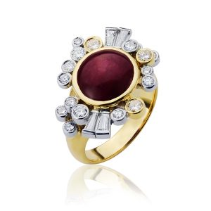 rt Deco Inspired Star Ruby & Diamond Vintage Dress Ring