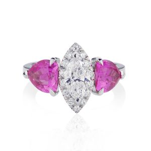 Marquise Diamond Vivid Pink Sapphires Dress Ring