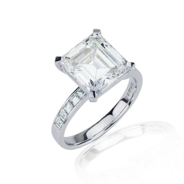 5ct Step Cut Square Diamond Ring