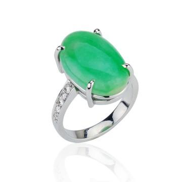 Oval Jade & Diamond Dress Ring