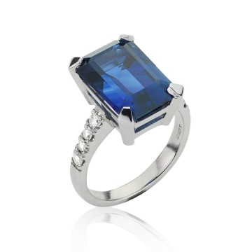 Emerald Cut Sapphire & Diamond Engagement Ring