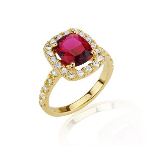 Halo Pink Cushion Tourmaline & Diamond Ring