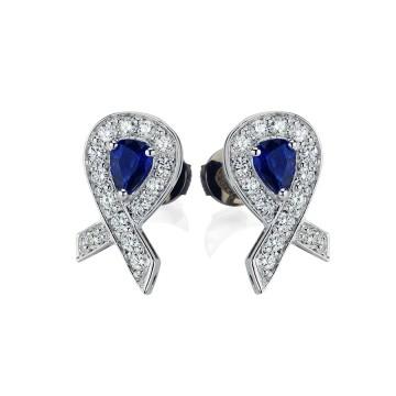 Cancer Ribbon Sapphire & Diamond Earrings