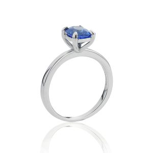 18ct White Gold Cushion Sapphire Ring