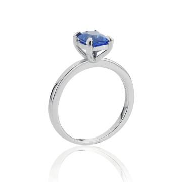18ct White Gold Cushion Sapphire Ring