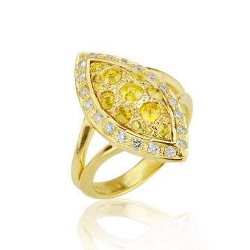 Marquise Yellow Tamboli Diamond Dress Ring