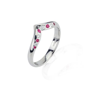 Ruby & Diamond Wishbone Half Eternity Ring