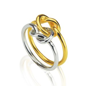 Love Knot Double Silver & Gilt Ring