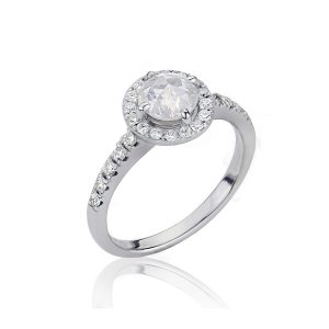 Halo Rose Cut Grey Diamond Ring