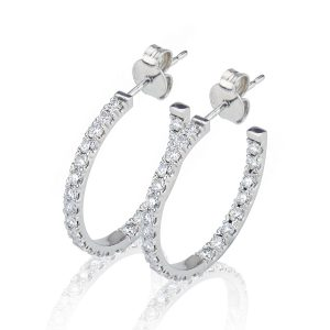 Large Double Sided Diamond Set Hoop Earrings