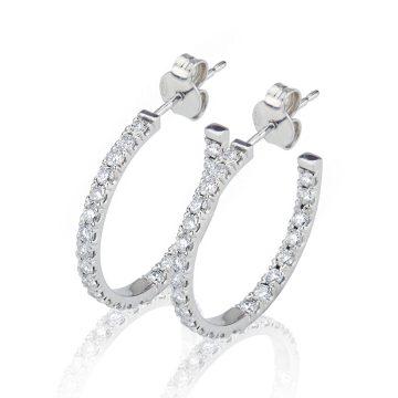 Large Double Sided Diamond Set Hoop Earrings