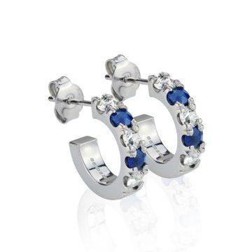 Half Hoop Sapphire & Diamond Earrings