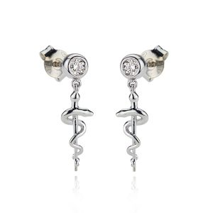 Diamond Asclepius Staff Earrings