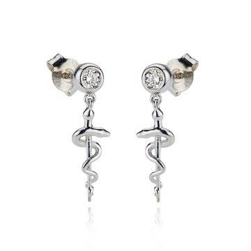 Diamond Asclepius Staff Earrings