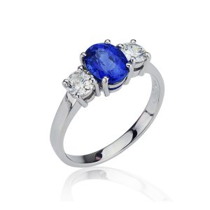Three Stone Oval Sapphire Diamond Ring