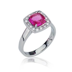 Pink Cushion Sapphire Diamond Halo Ring