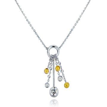 Yellow & White Diamond Dreamcatcher Pendant