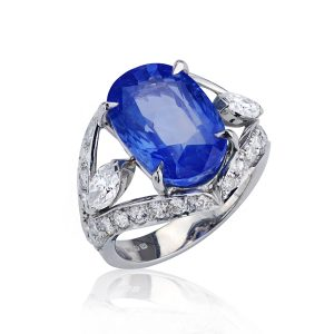 Cushion Cut Sapphire & Marquise Diamond Dress Ring