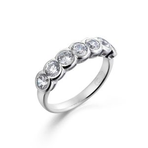 Scallop Set Diamond Half Eternity Ring