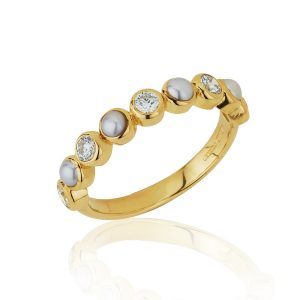 Pearl & Diamond Half Eternity Ring