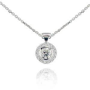 18ct White Gold 0.42ct Centered Diamond Halo Pendant