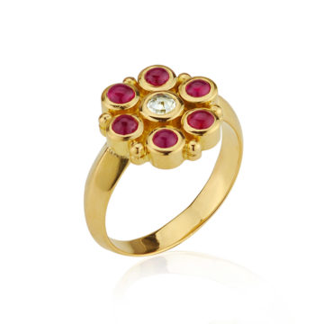 Cheapside Hoard Style Ruby and Diamond Ring